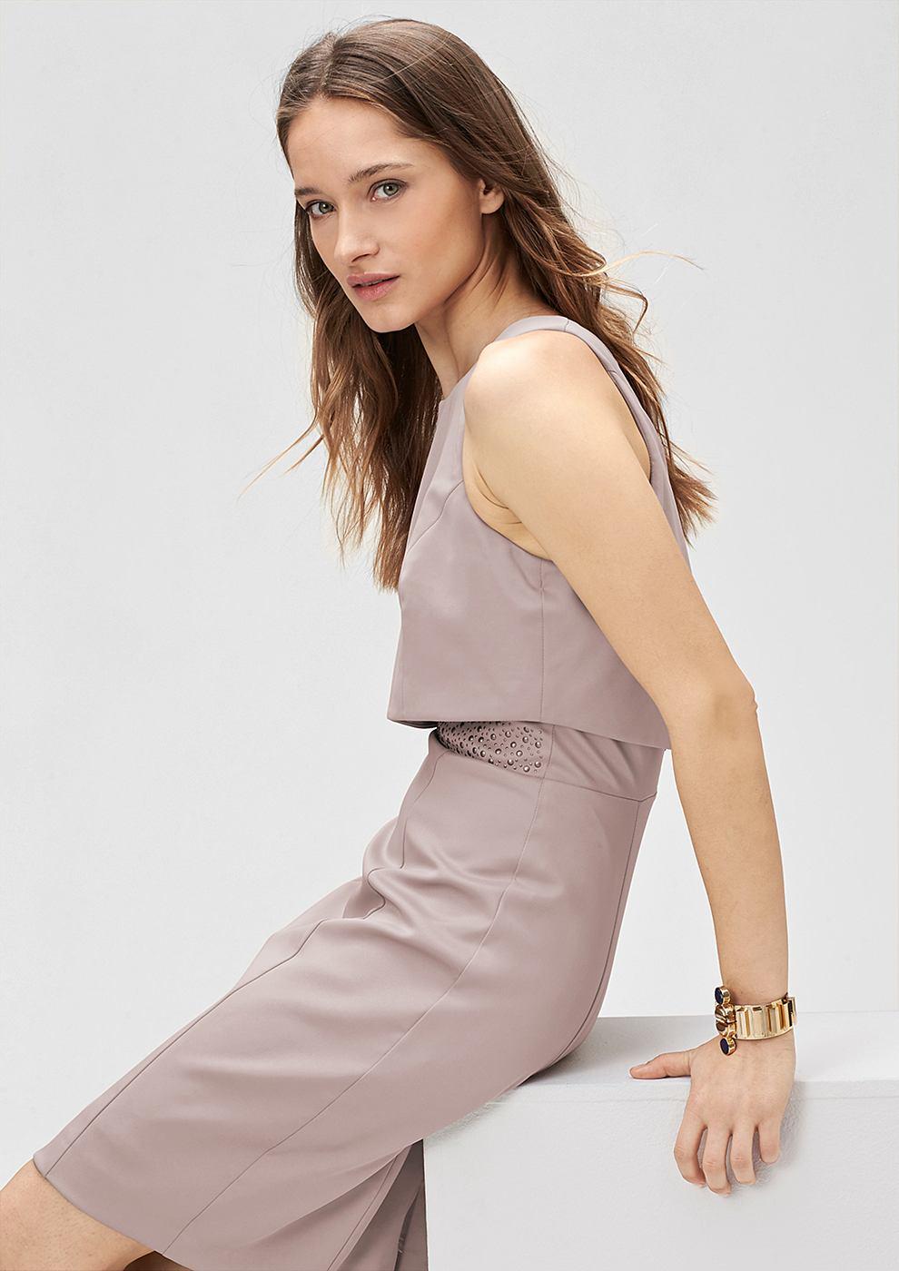 s.Oliver Premium satijnen jurk met een laagjeslook bruin