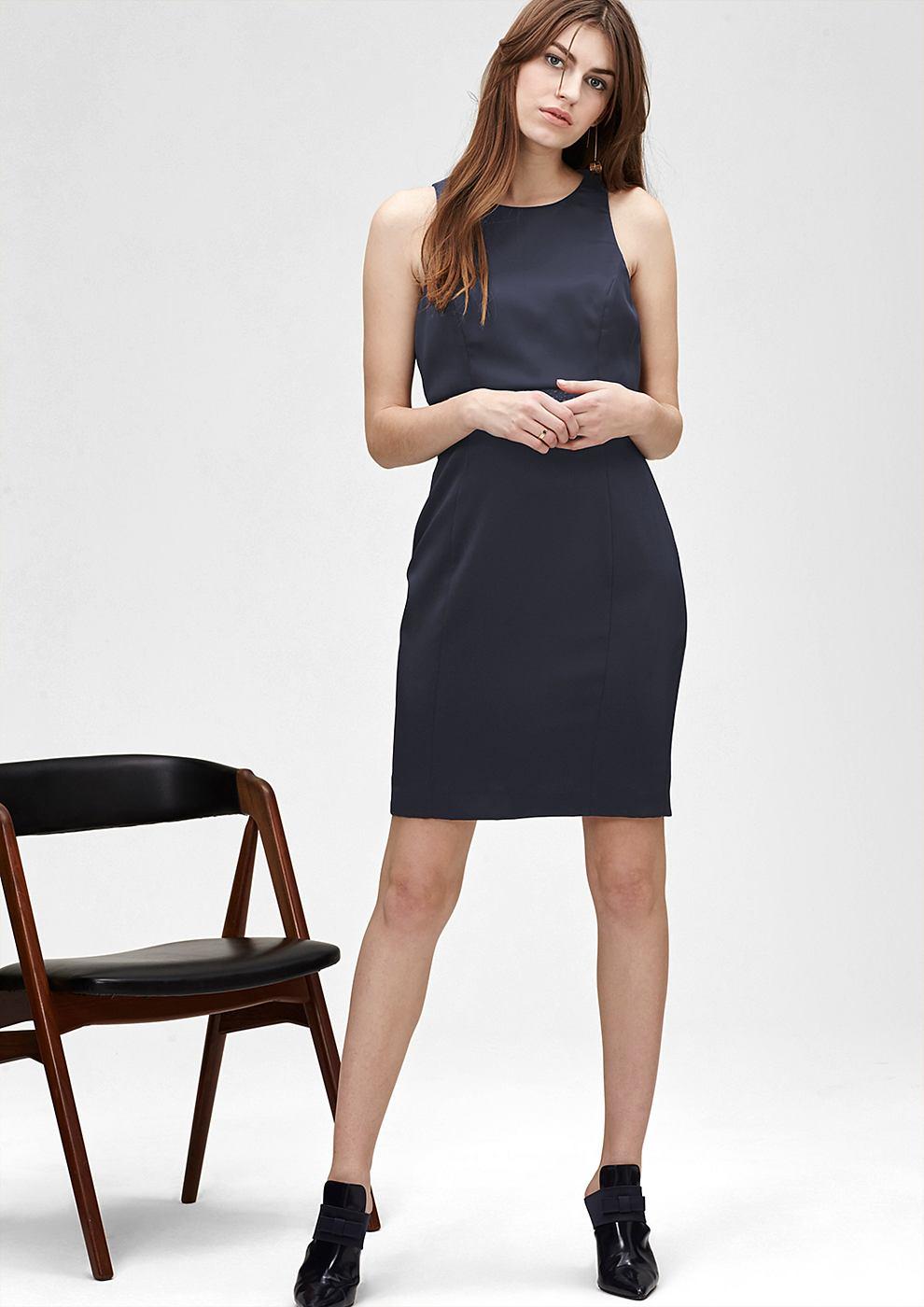 s.Oliver Premium satijnen jurk met een laagjeslook blauw