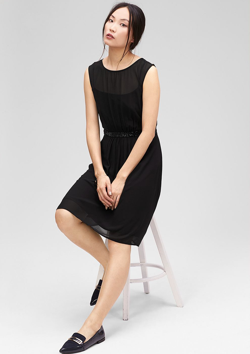 s.Oliver Premium chiffon jurk met glittersteentjes zwart