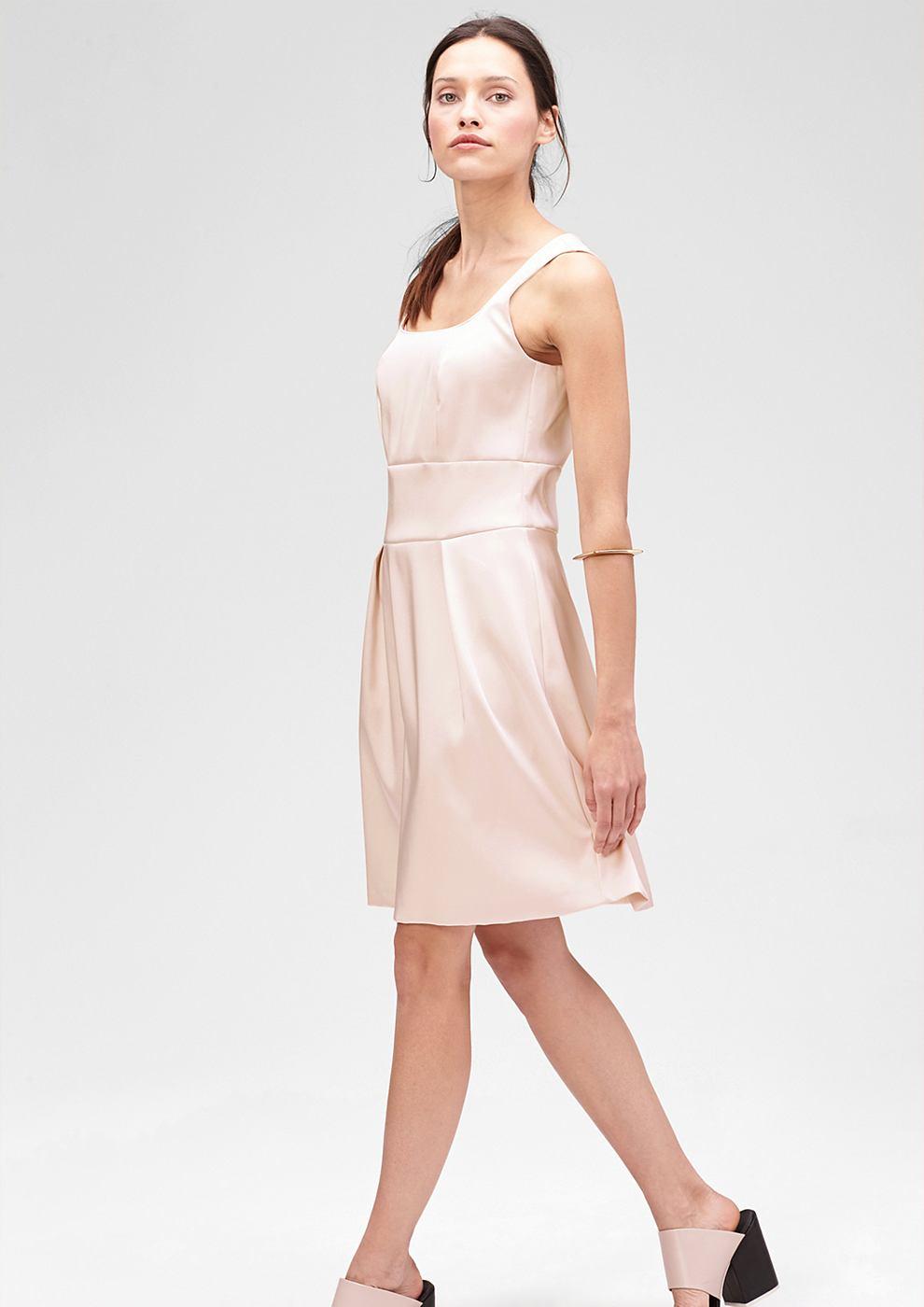 s.Oliver Premium Getailleerde jurk van satijn roze