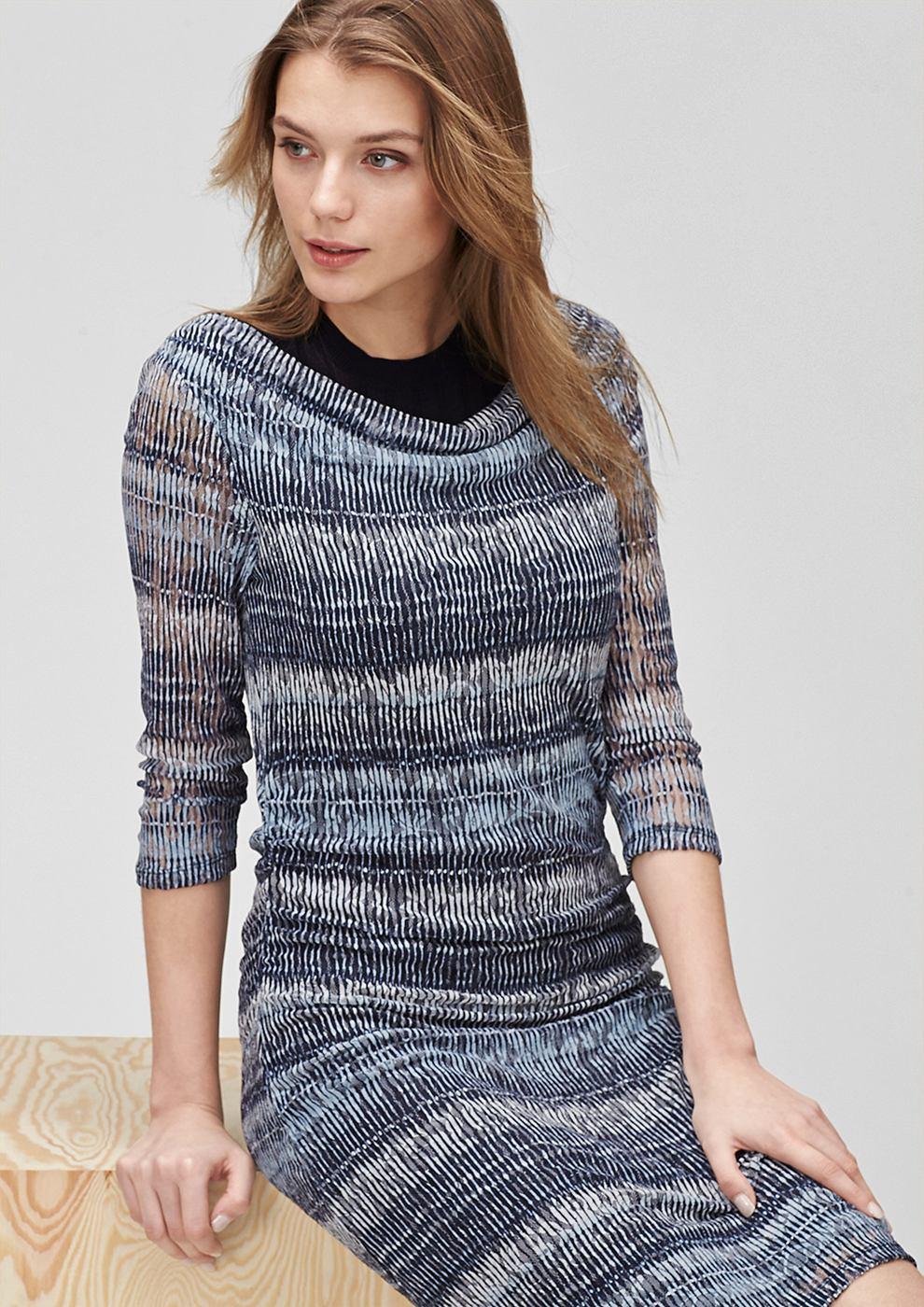 s.Oliver Premium kanten jurk met gedrapeerd effect blauw