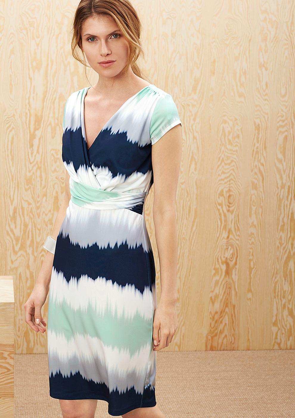 s.Oliver Premium Gedrapeerde jurk met motief groen
