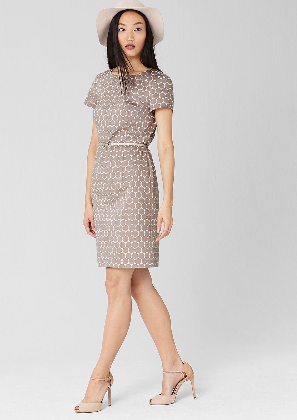 s.Oliver Premium jurk met ceintuur van katoensatijn bruin