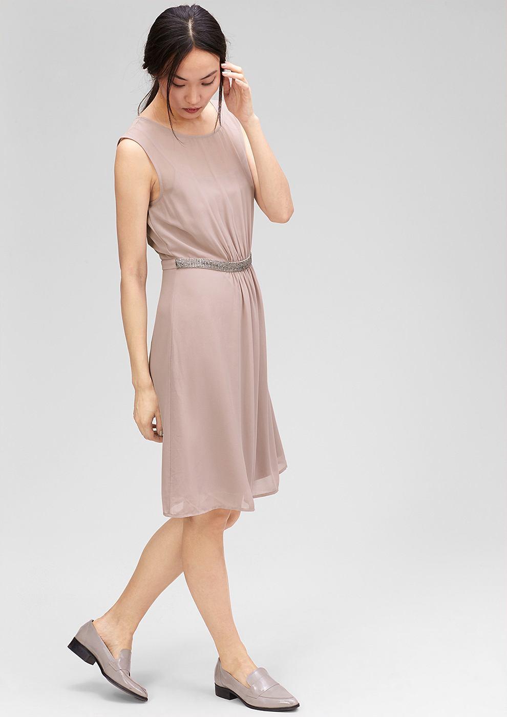 s.Oliver Premium chiffon jurk met glittersteentjes bruin