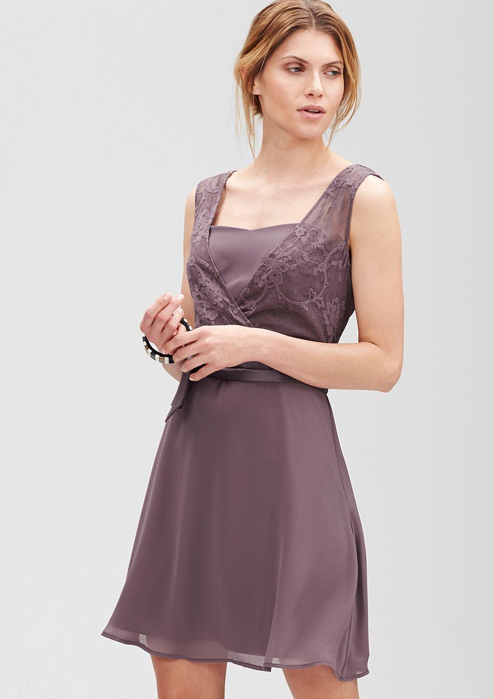 s.Oliver Premium jurk met kant en laagjeseffect paars