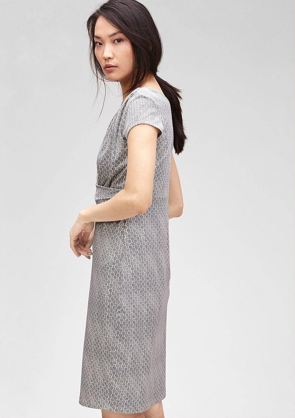 s.Oliver Premium Gedrapeerde jurk met motief rood