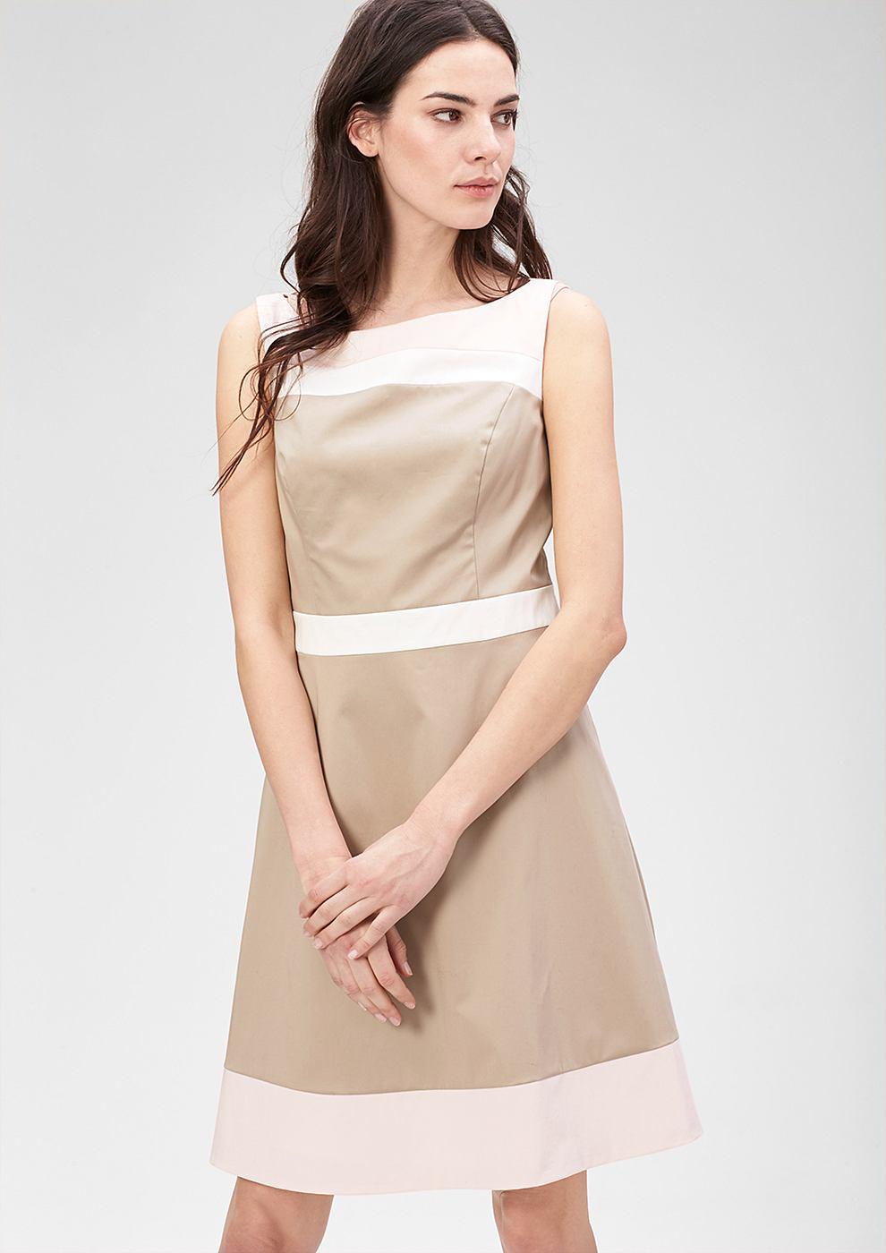 s.Oliver Premium jurk met colour block-design bruin