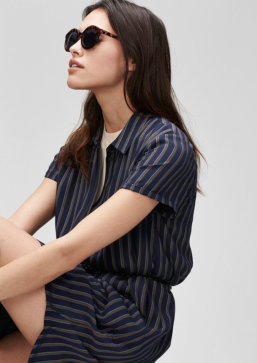 s.Oliver Premium Shirtdress met strepen blauw