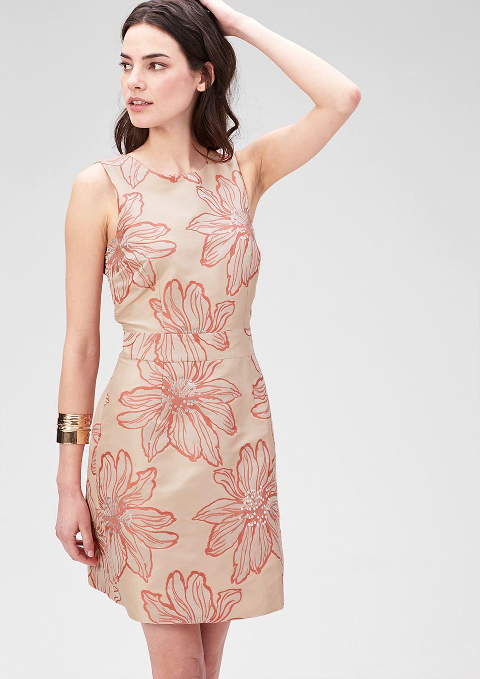 s.Oliver Premium Getailleerde jacquard jurk roze