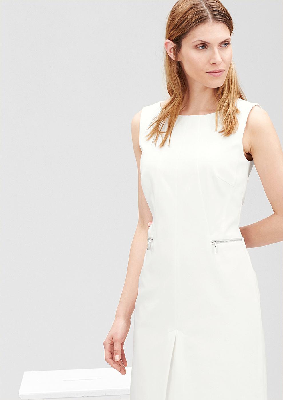 s.Oliver Premium Aansluitende jurk met een ritsdetail wit