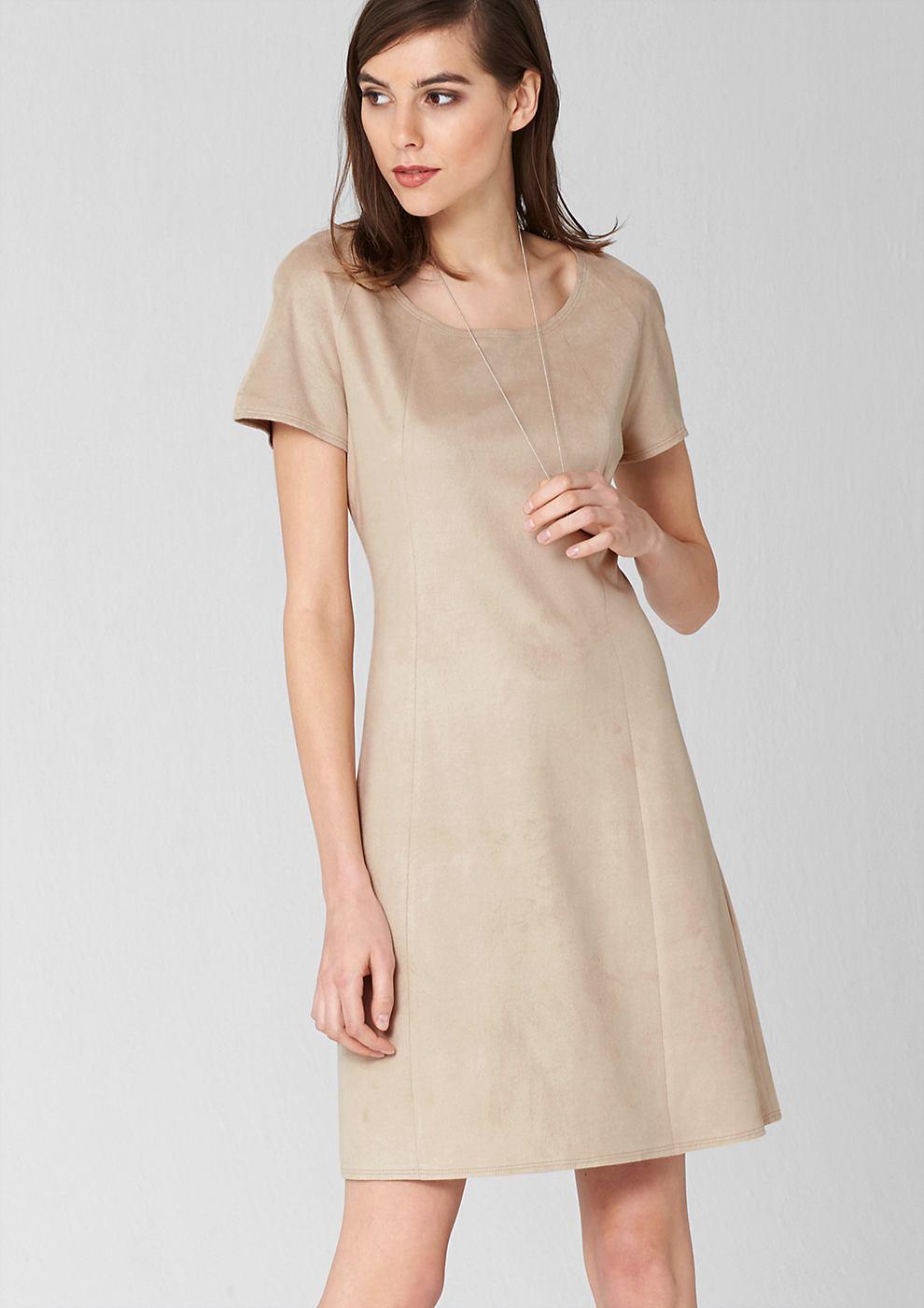 s.Oliver Premium jurk van imitatiesuède bruin