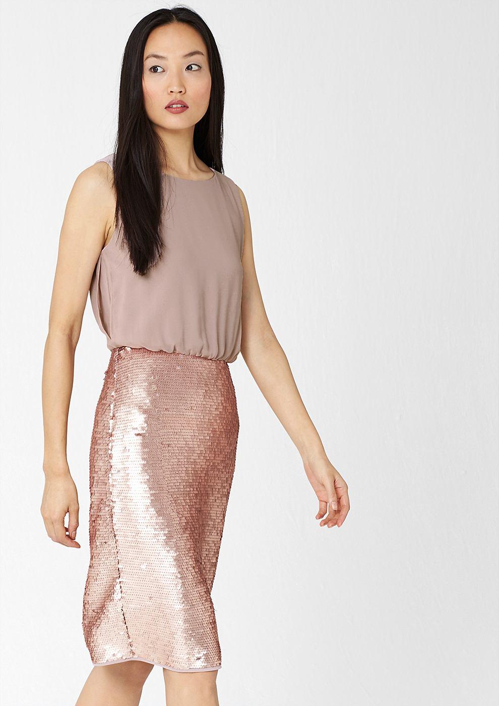s.Oliver Premium chiffon jurk met pailletjes bruin