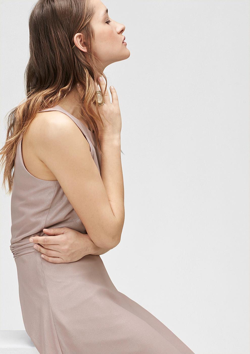s.Oliver Premium chiffon jurk met glanseffect bruin