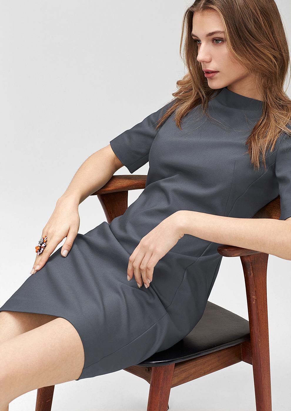 s.Oliver Premium Aansluitende jurk van stretchkatoen grijs