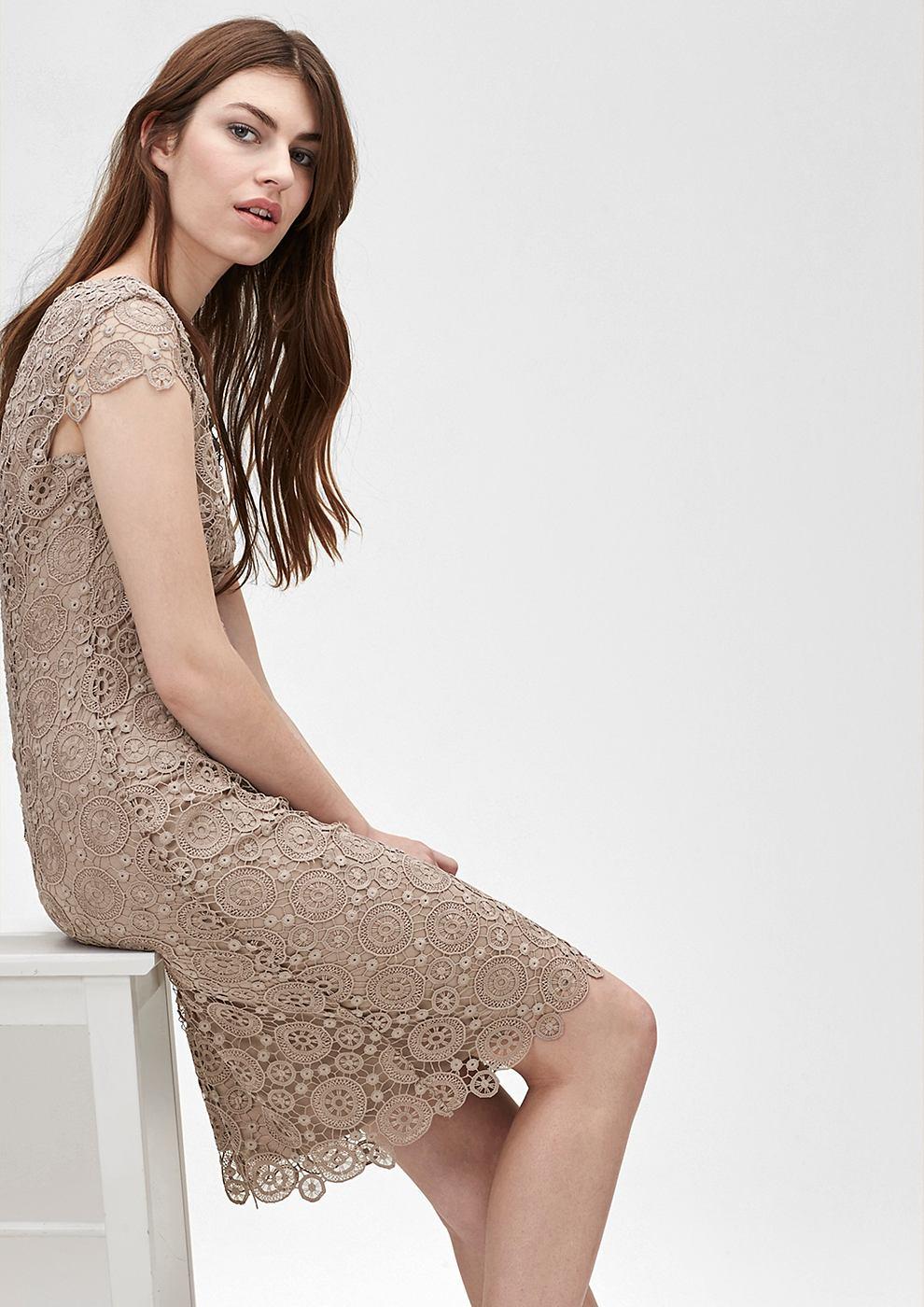 s.Oliver Premium Accentuerende jurk van kant bruin