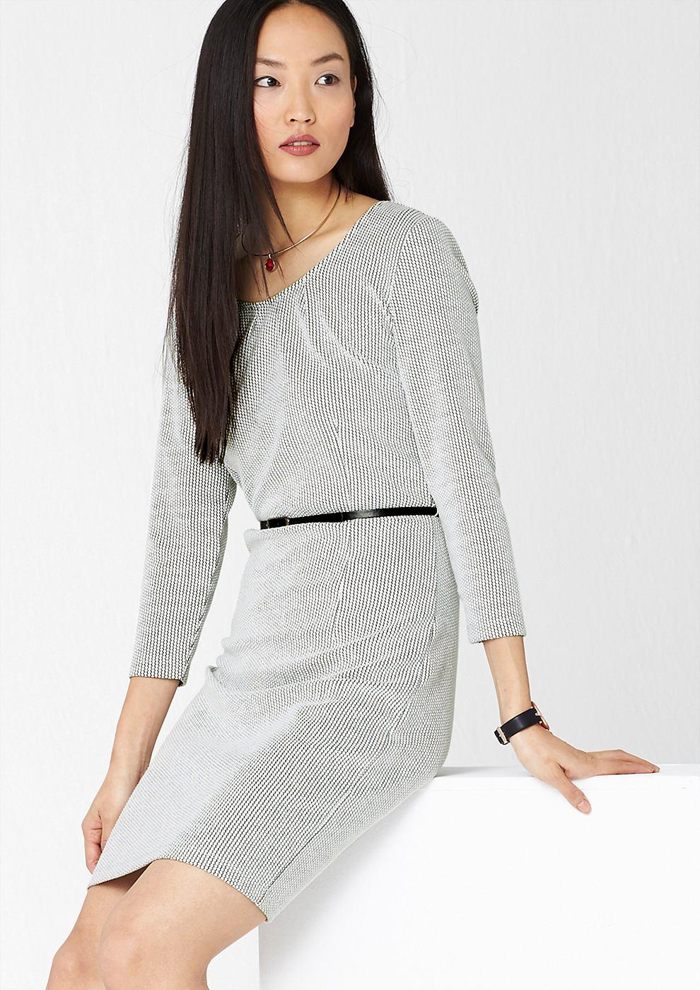 s.Oliver Premium Jacquard jurk met riem wit