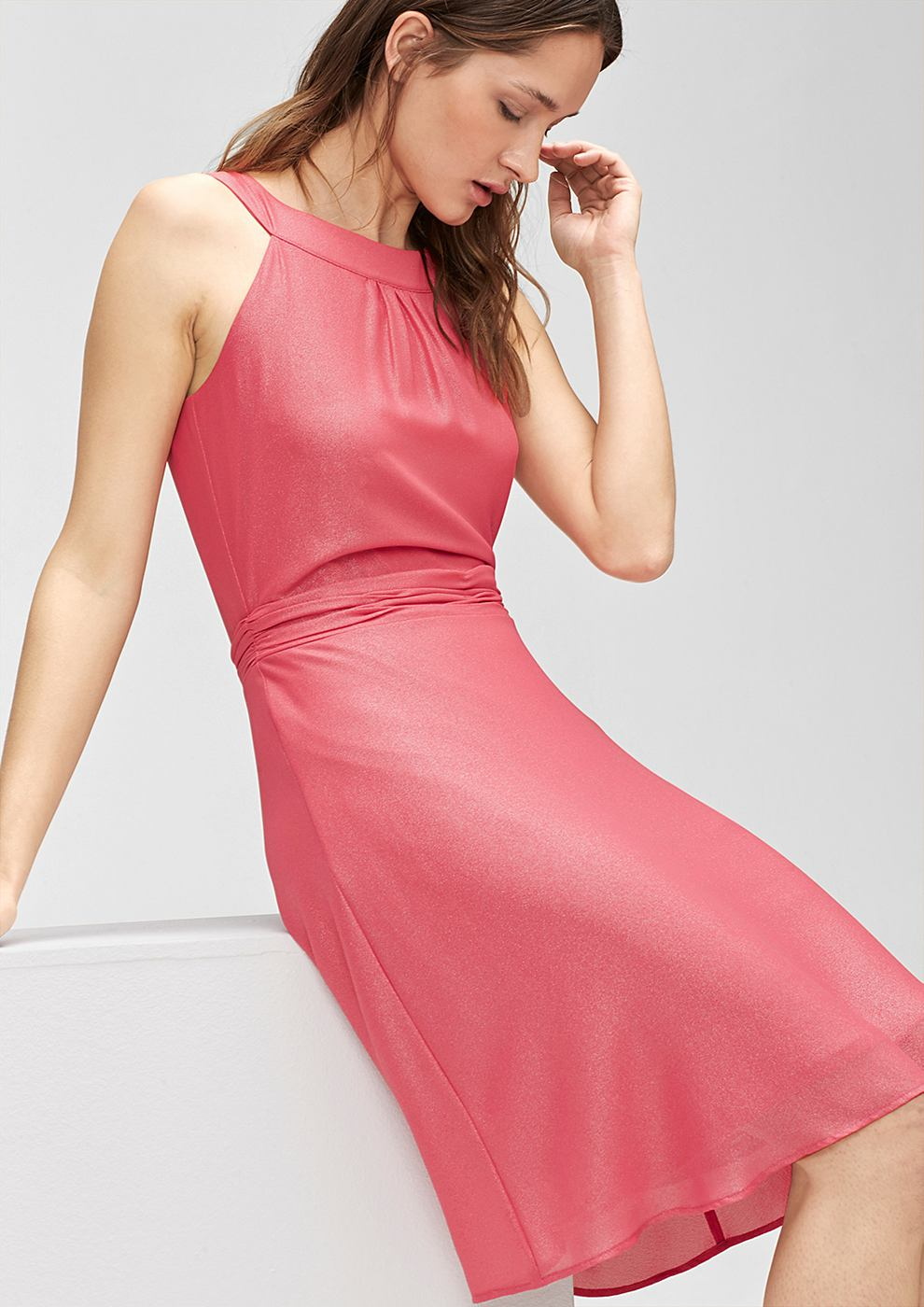 s.Oliver Premium chiffon jurk met glanseffect roze