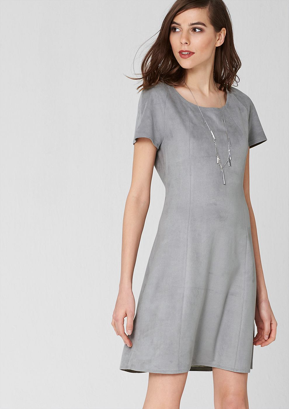 s.Oliver Premium jurk van imitatiesuède grijs