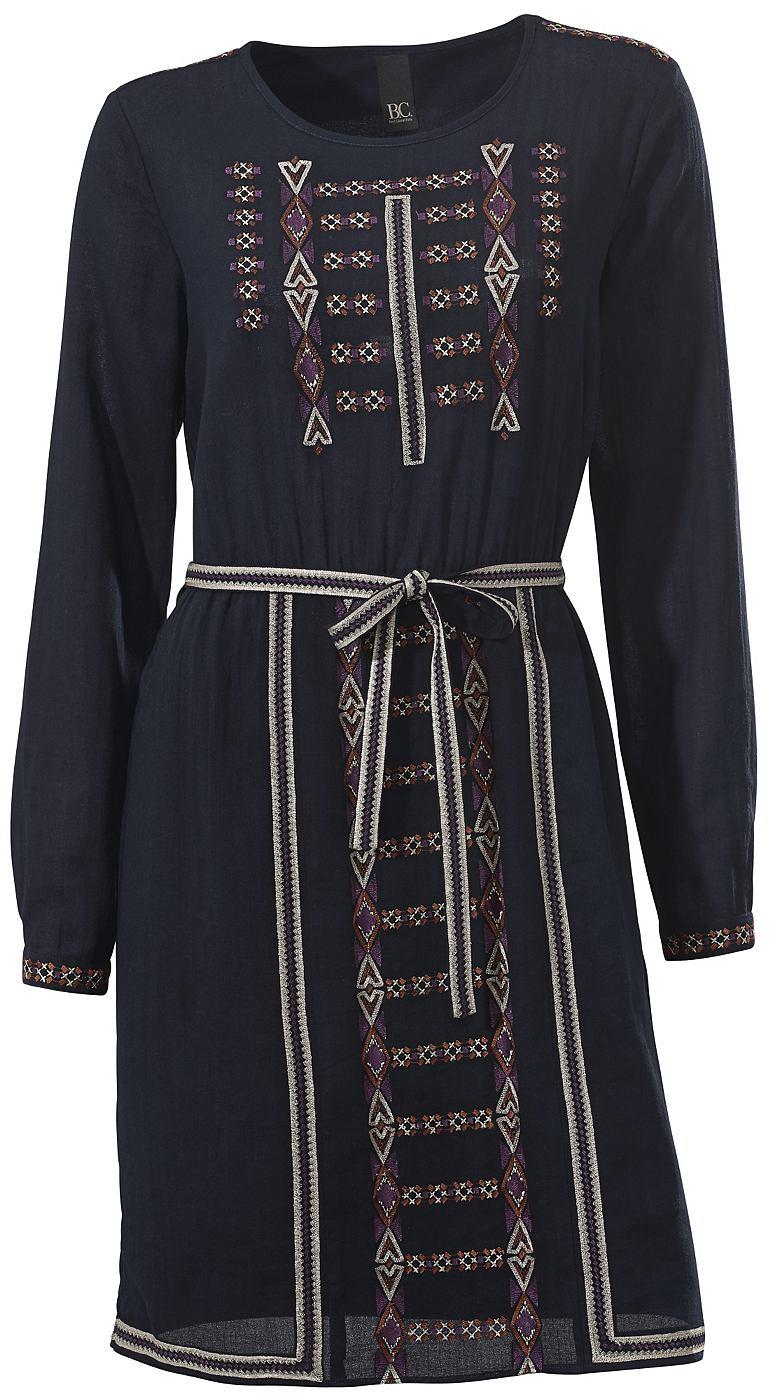jurk met borduursel blauw