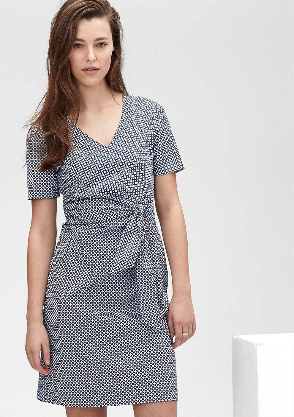 s.Oliver Premium Gdrapeerde jurk met motief blauw