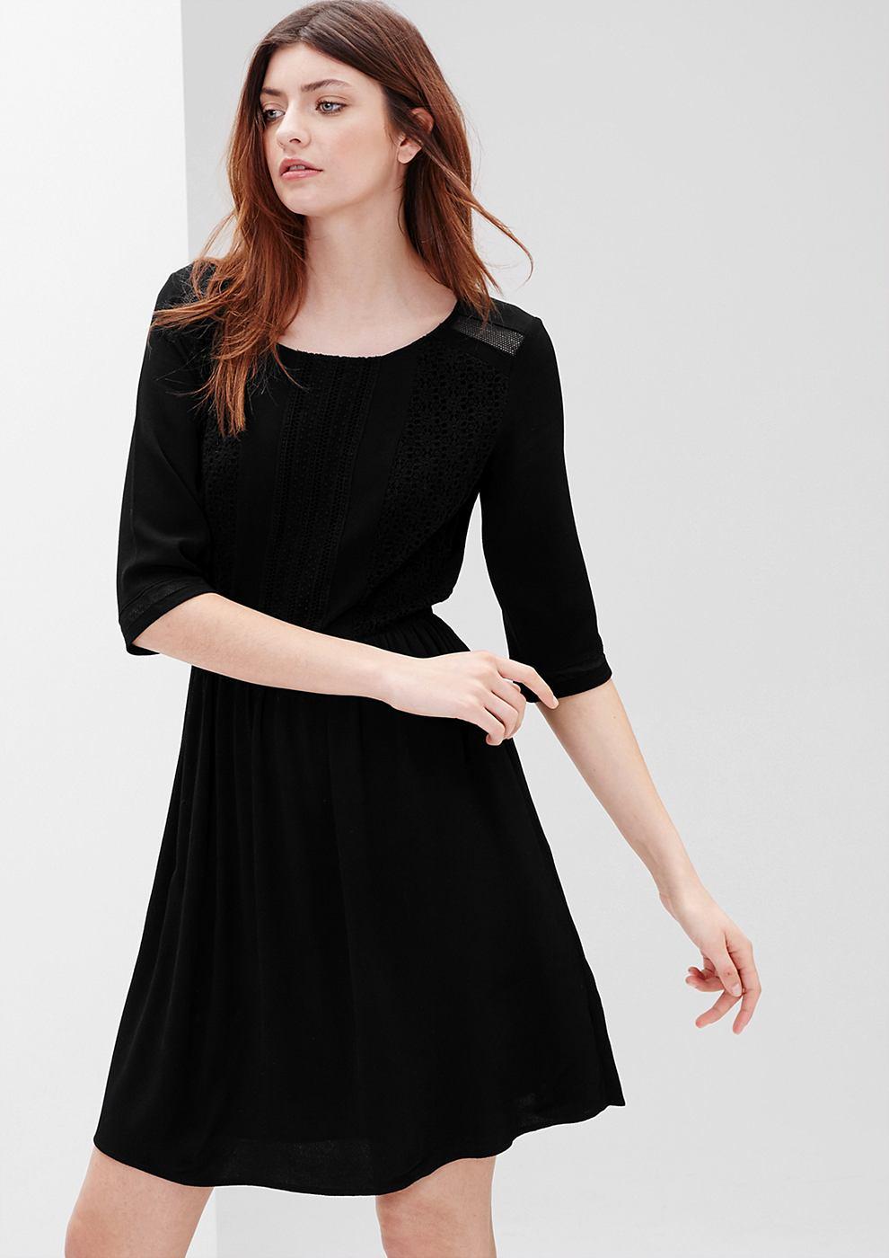 s.Oliver Crepe jurk met gehaakte kant zwart
