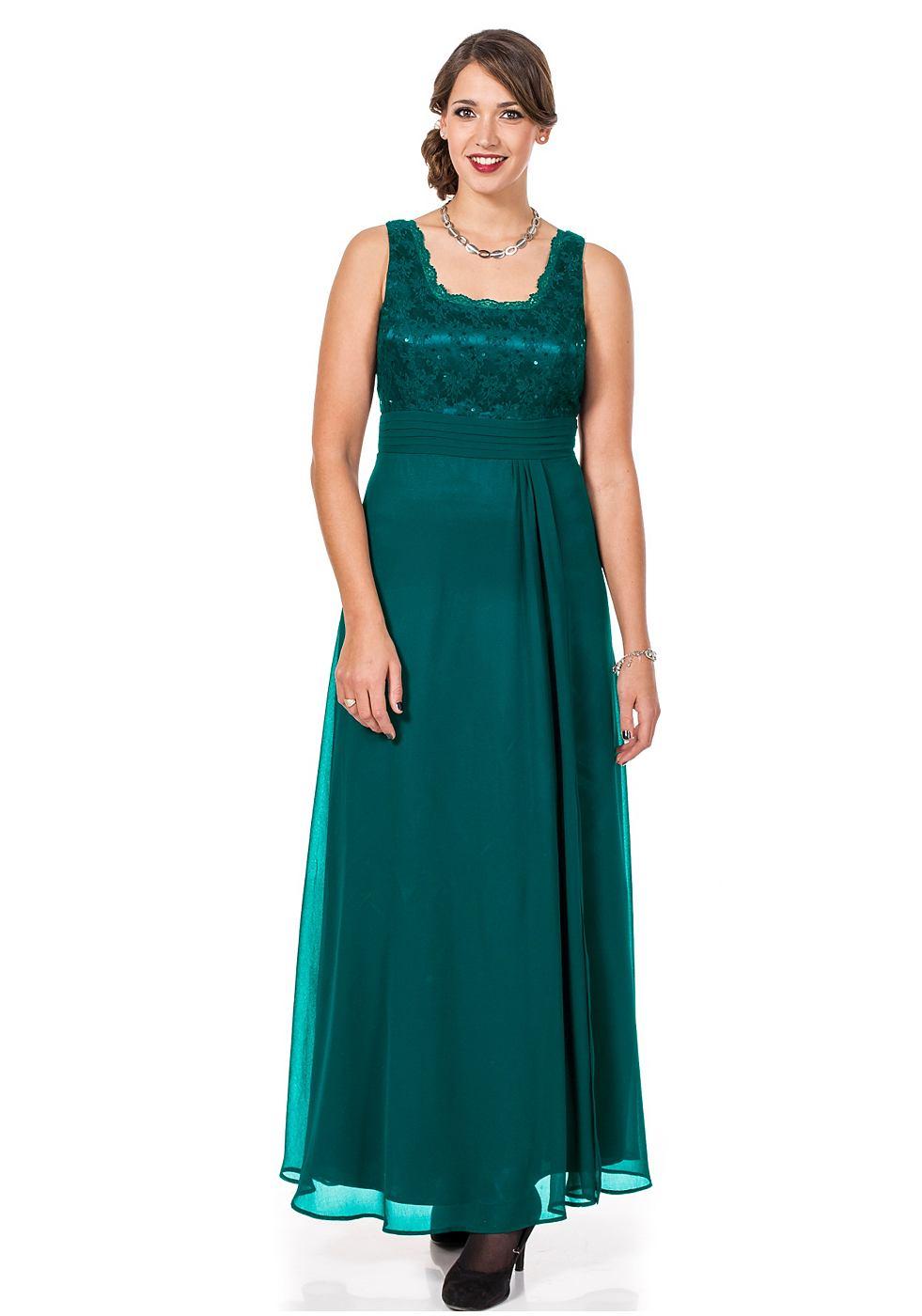 Sheego Style jurk met lijfje van kant groen