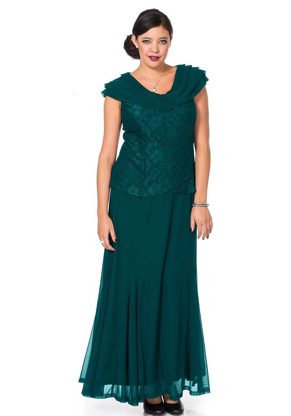 M.I.M jurk met sjaalkraag groen