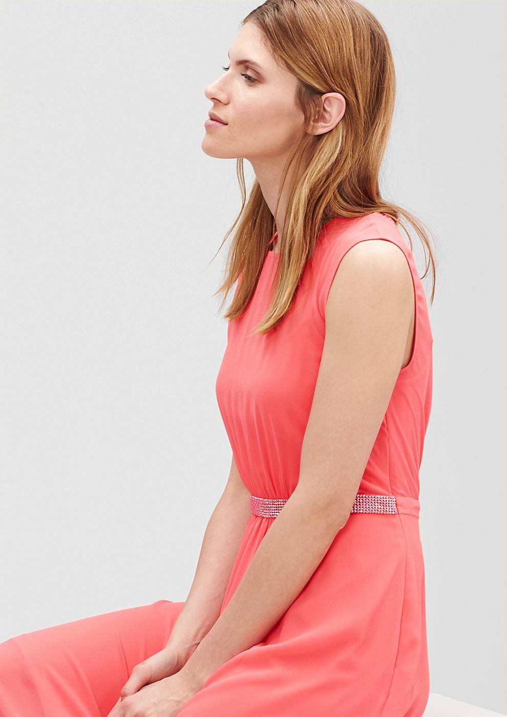 s.Oliver Premium chiffon jurk met glittersteentjes rood