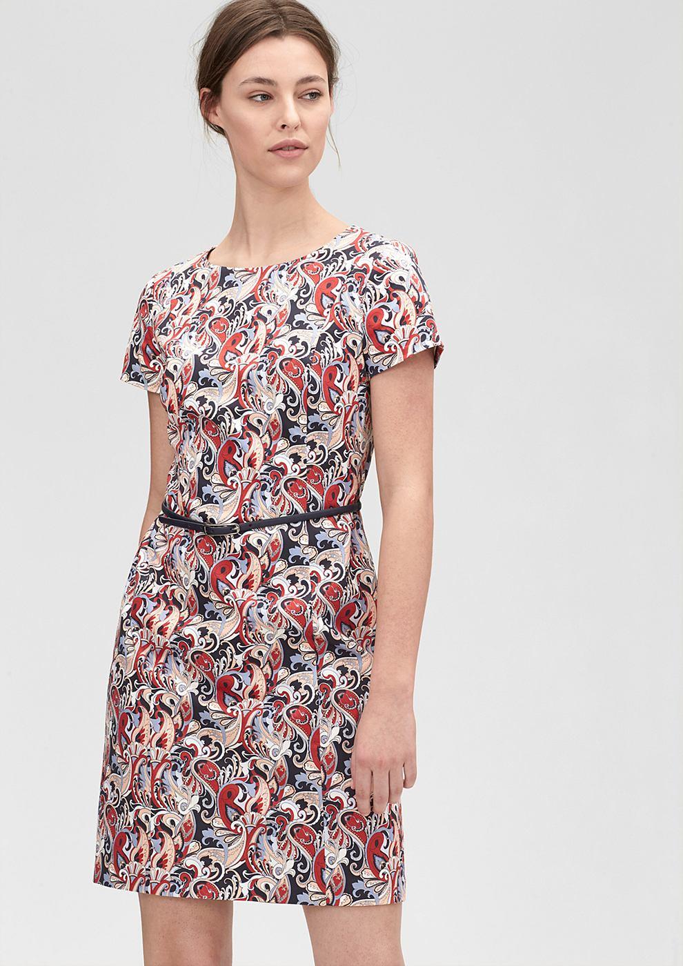 s.Oliver Premium jurk met motief van katoen rood