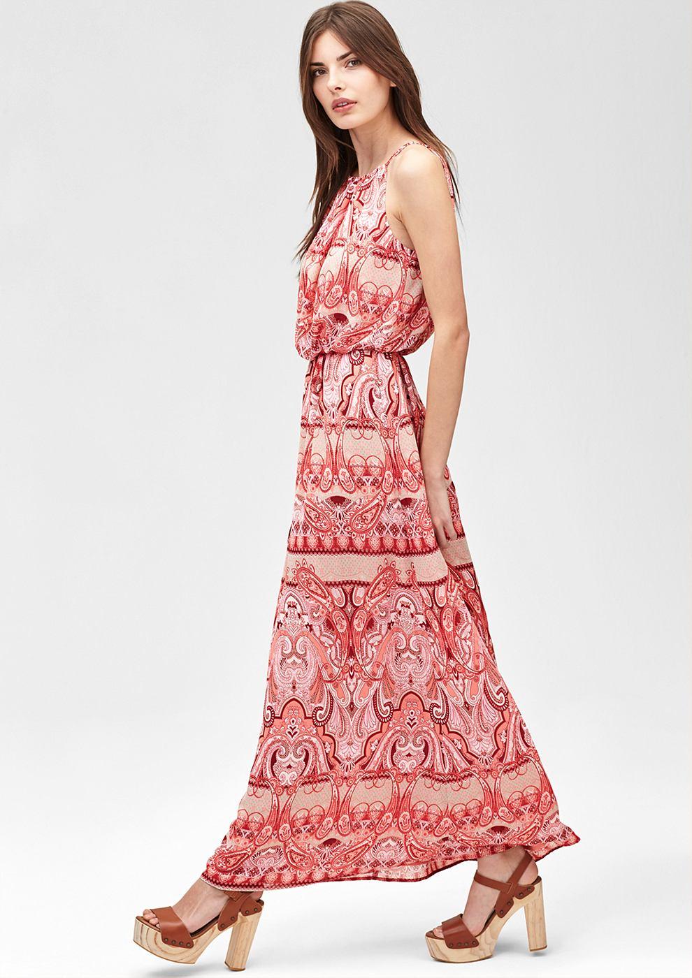 s.Oliver Premium Off shoulder maxi dress oranje