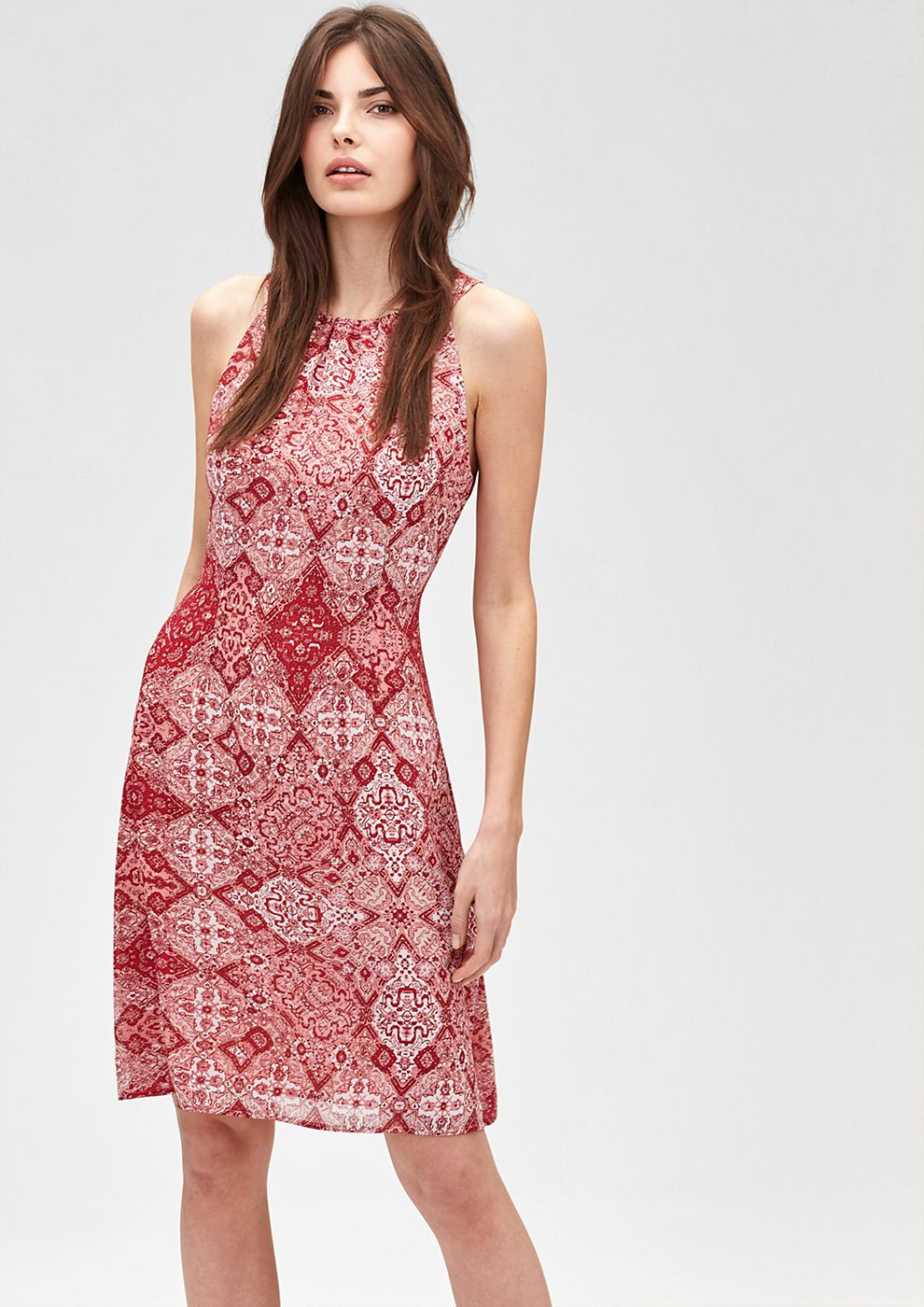 s.Oliver Premium jurk met een motiefmix oranje