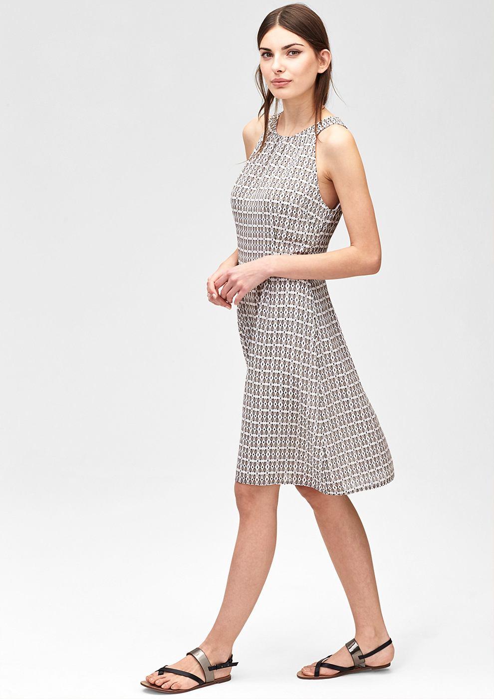 s.Oliver Premium jurk met een motiefmix bruin