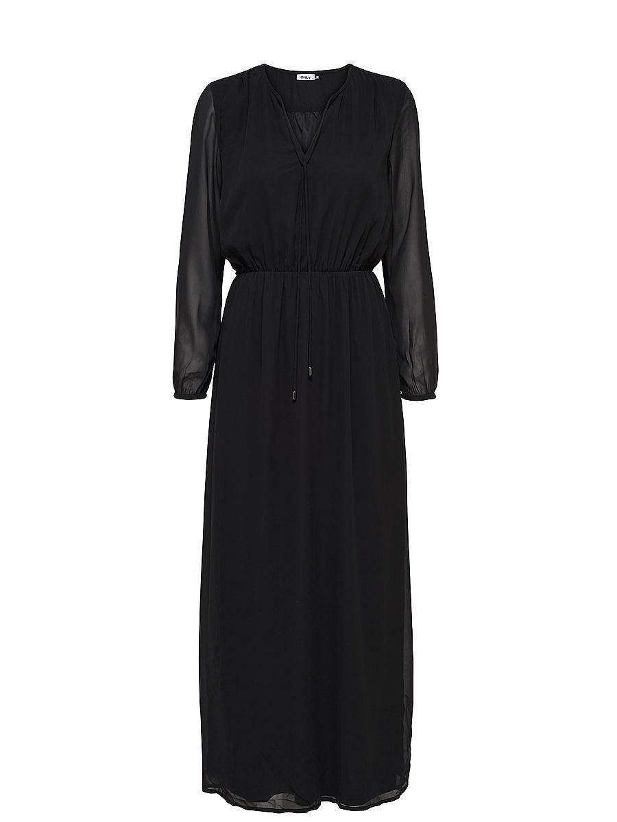 ONLY Lange mouw Maxi jurk zwart