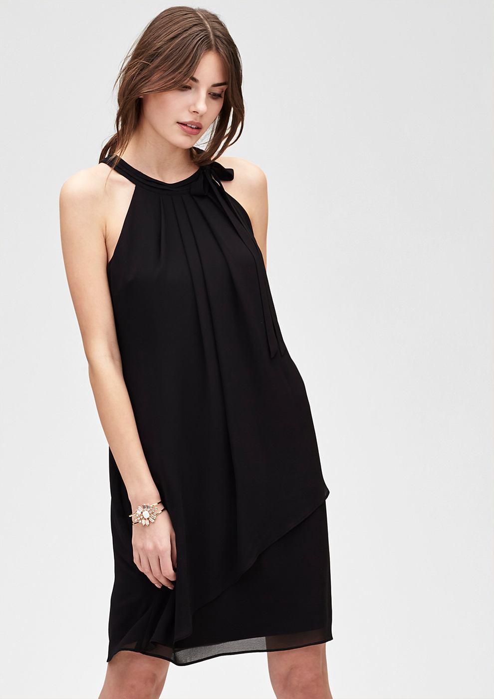 s.Oliver Premium Zwierige chiffon jurk zwart