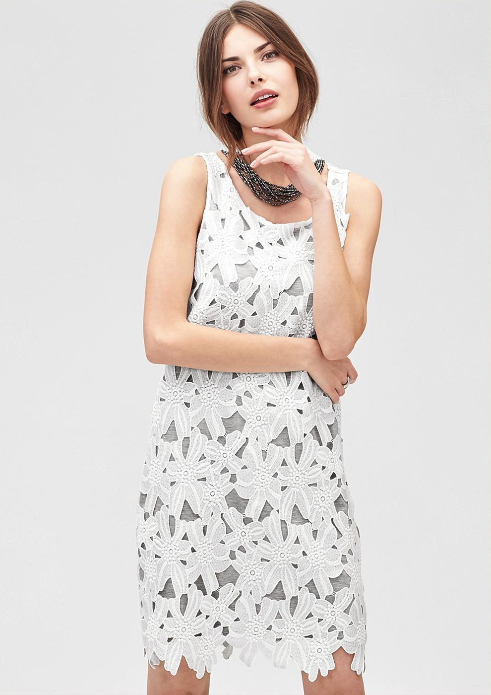 s.Oliver Premium kanten jurk wit