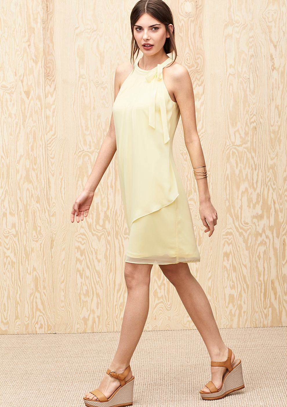s.Oliver Premium Zwierige chiffon jurk geel