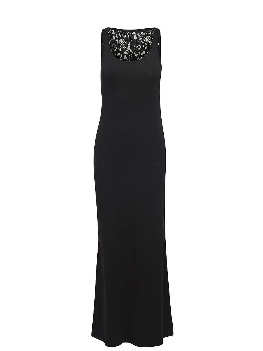 NU 15% KORTING: ONLY kanten Maxi jurk zwart