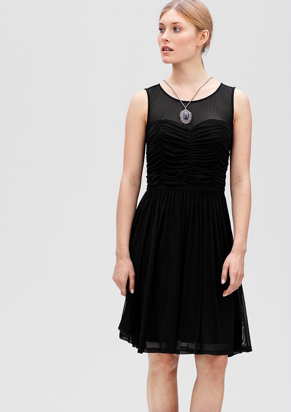s.Oliver Premium Mesh jurk met rafels zwart