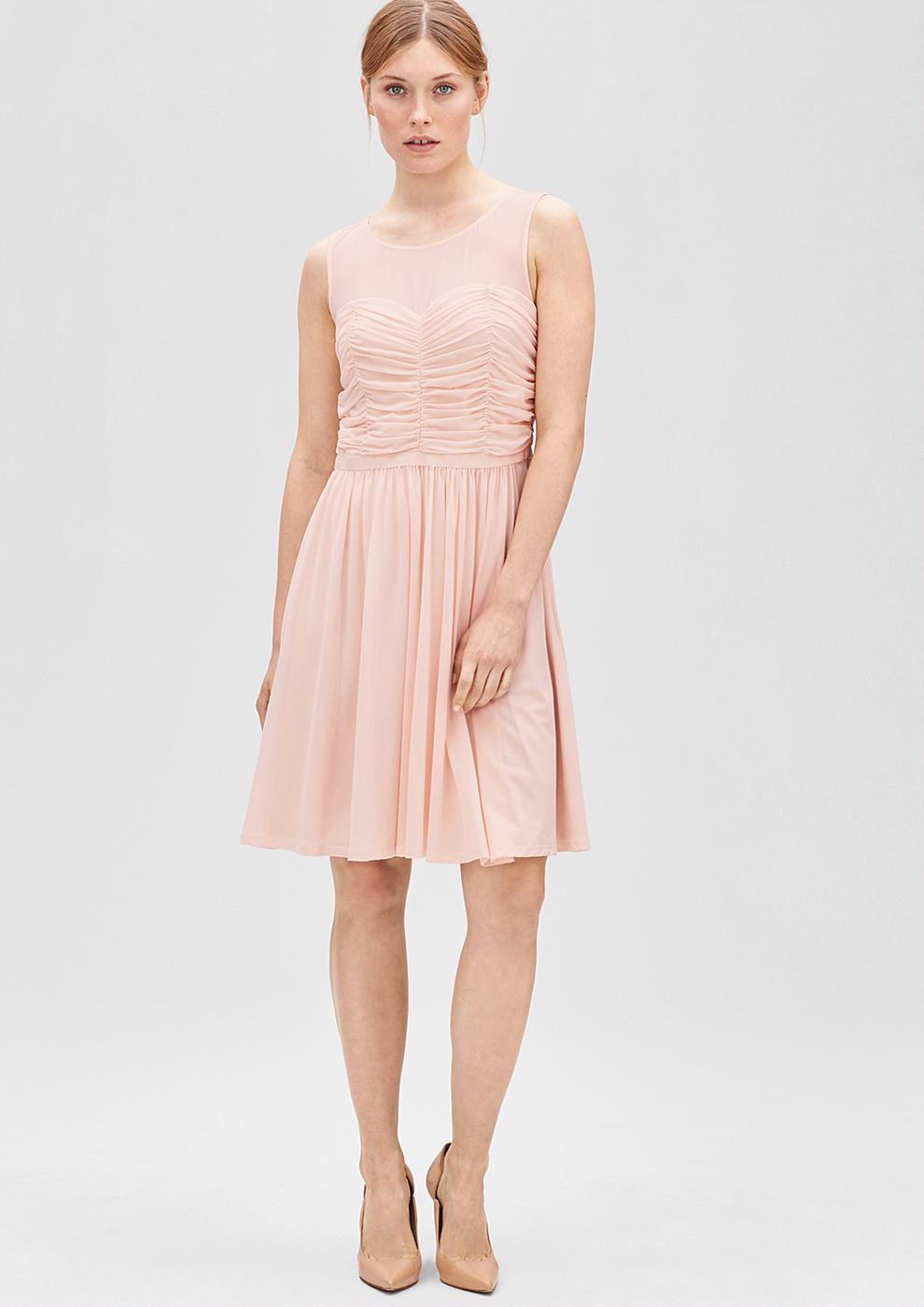 s.Oliver Premium Mesh jurk met rafels roze