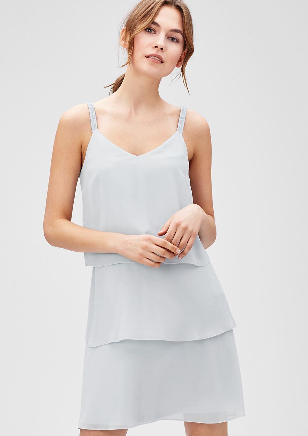 s.Oliver Premium jurk met volants en strasdetails blauw