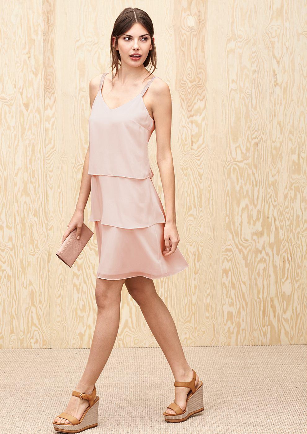 s.Oliver Premium jurk met volants en strasdetails roze