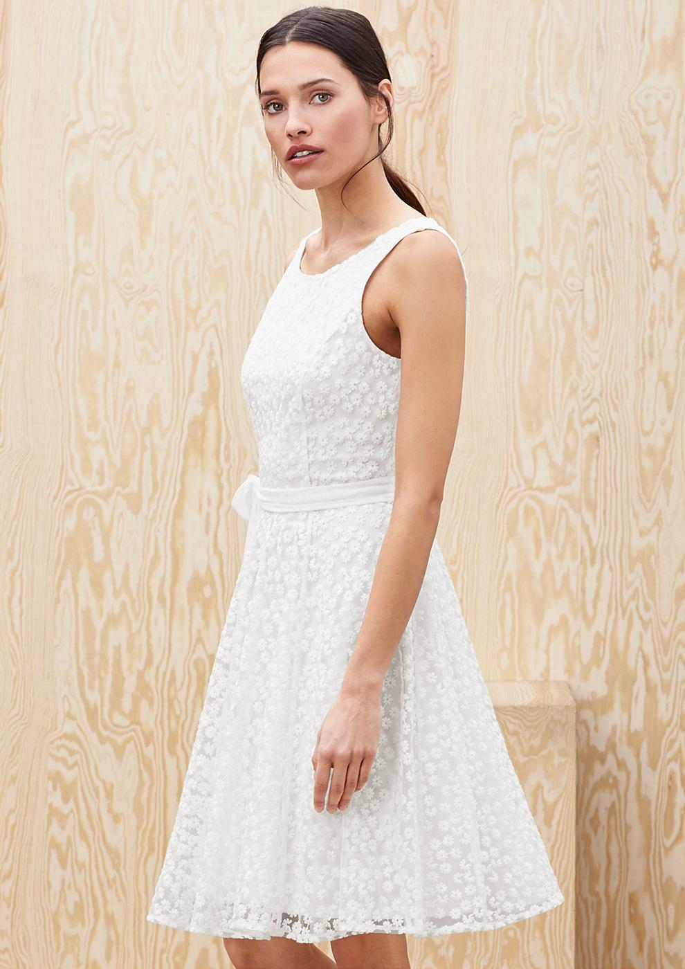 s.Oliver Premium jurk met bloemenmotief wit
