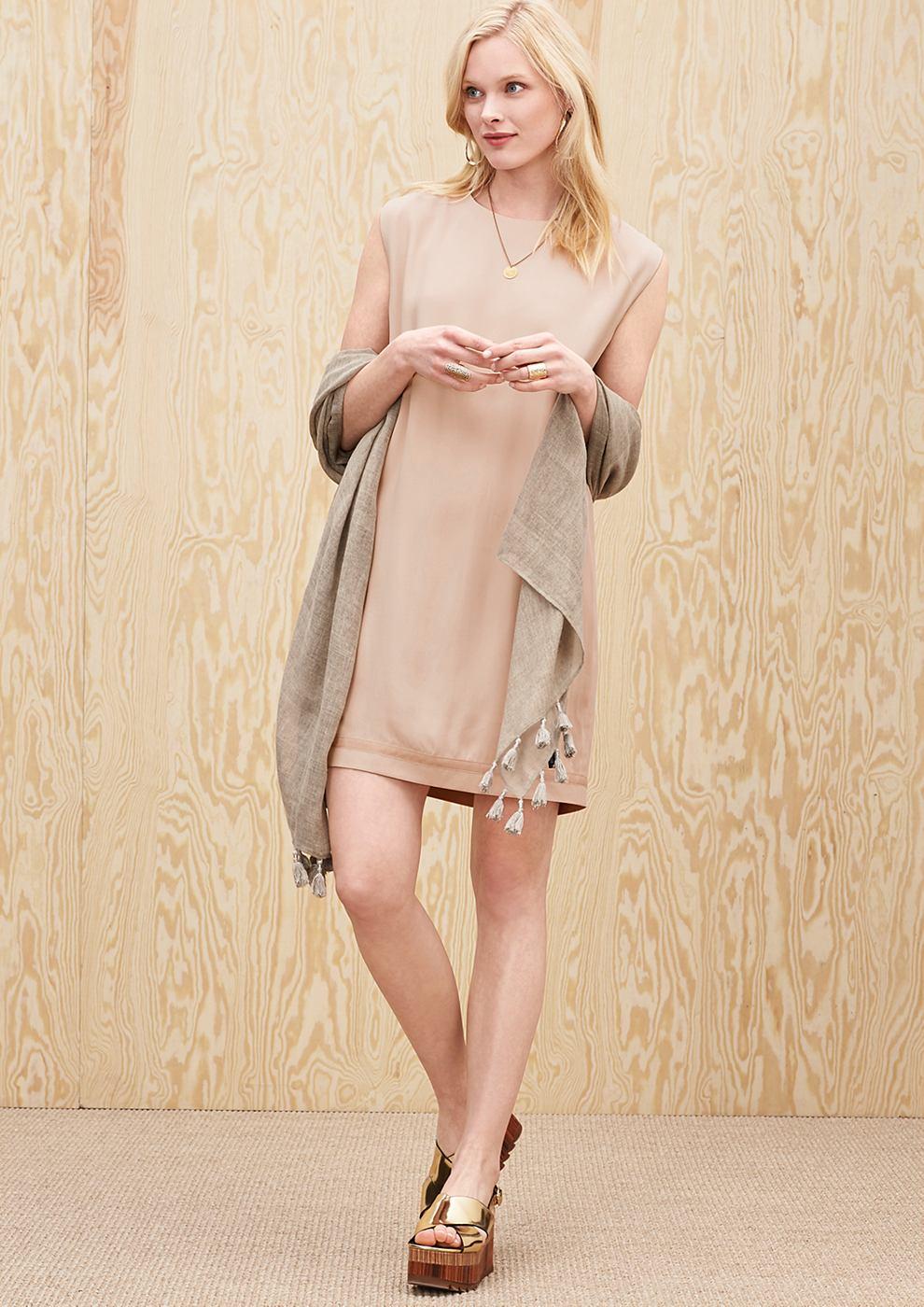 s.Oliver Premium Mouwloze egg shape jurk wit