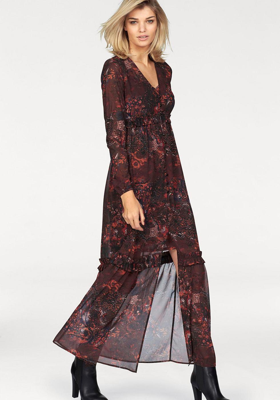 Laura Scott maxi-jurk (set 2-delig) bruin