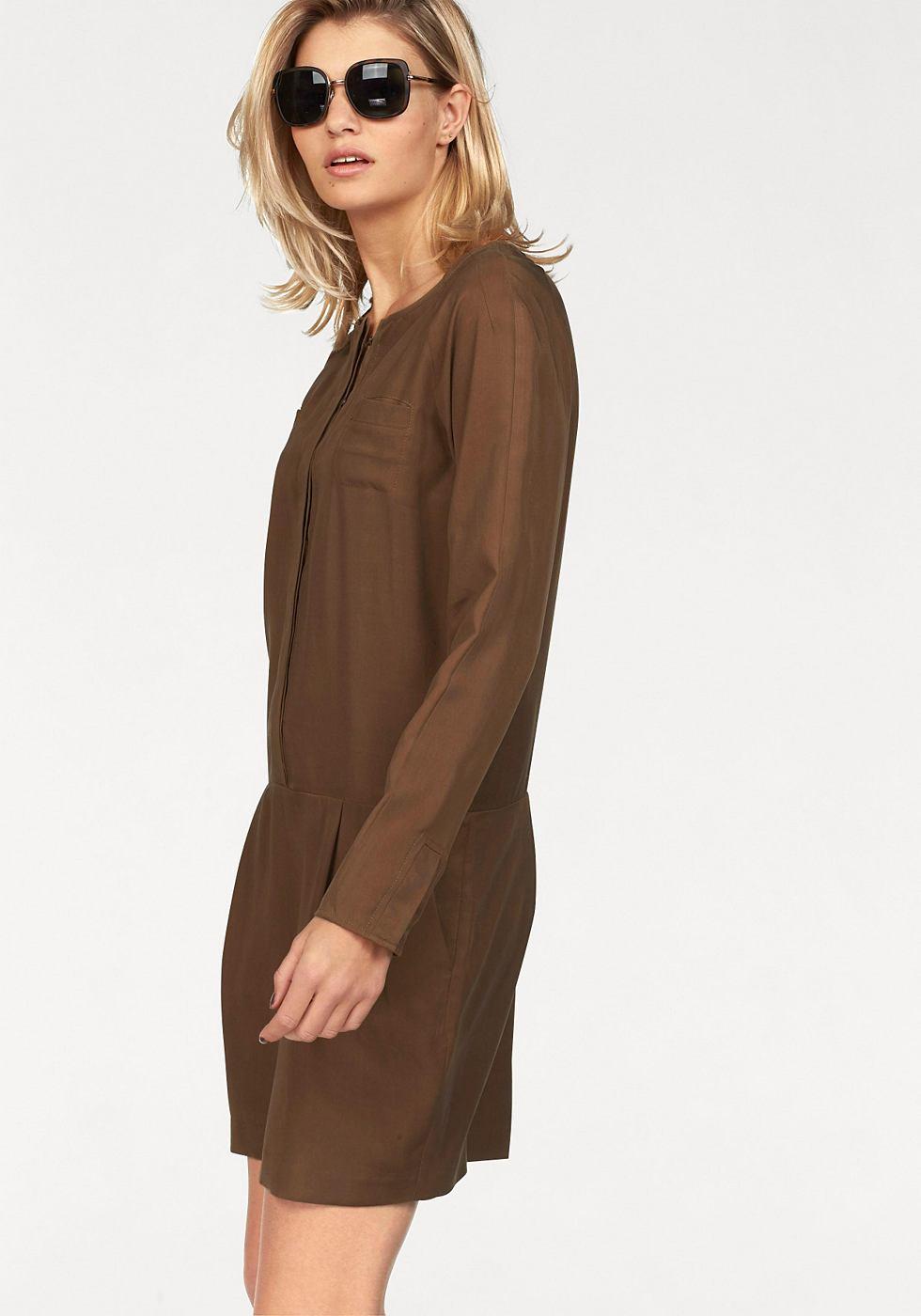 Laura Scott geweven jurk bruin