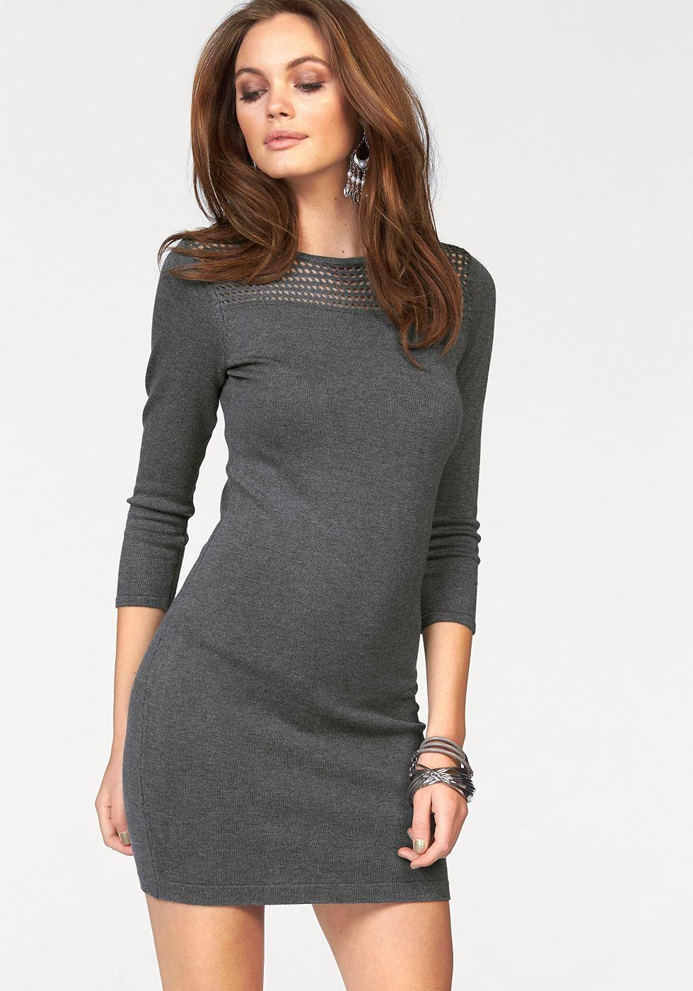 Melrose Tricot-jurk met ronde hals grijs