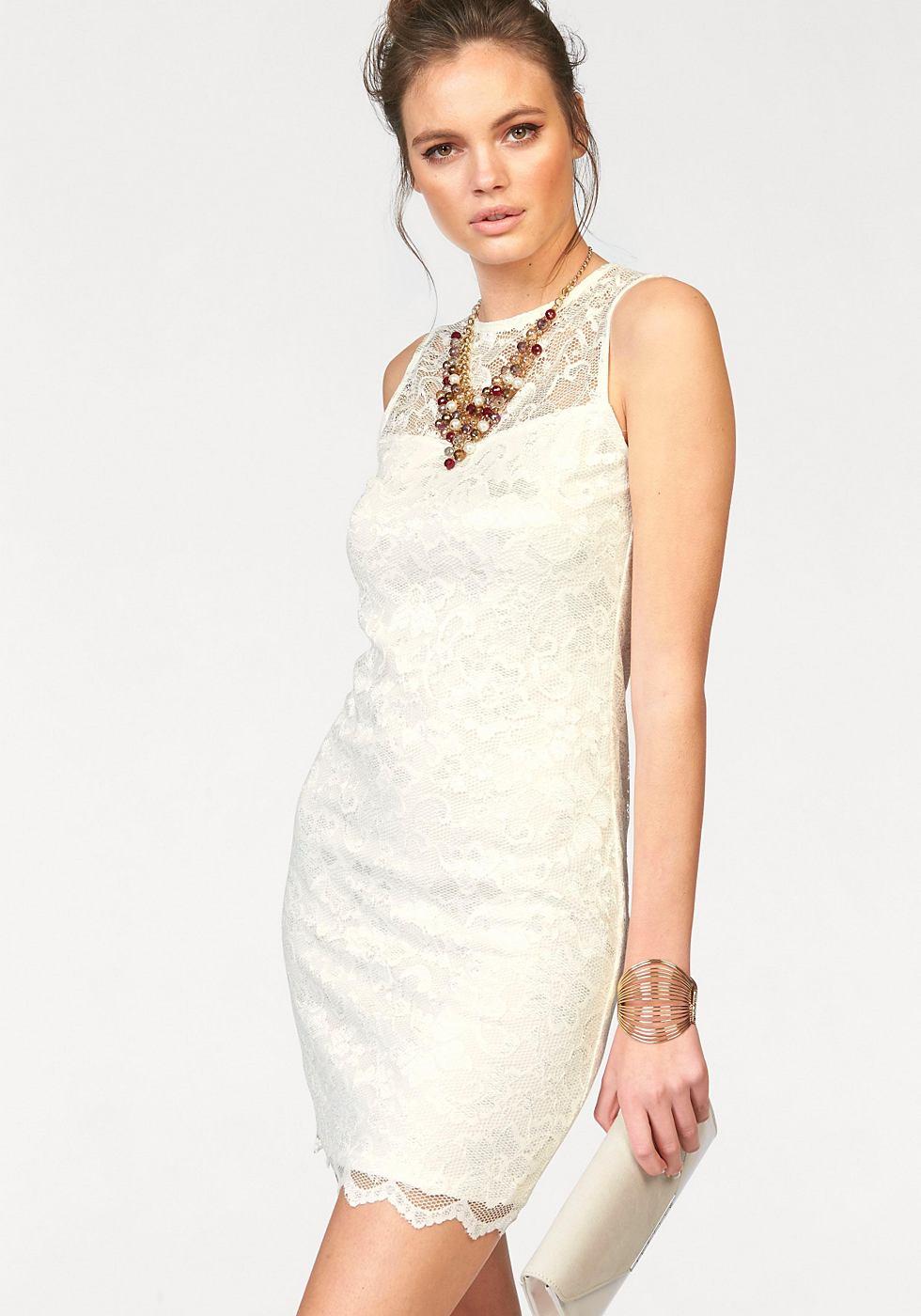 NU 21% KORTING: Melrose kanten jurk wit