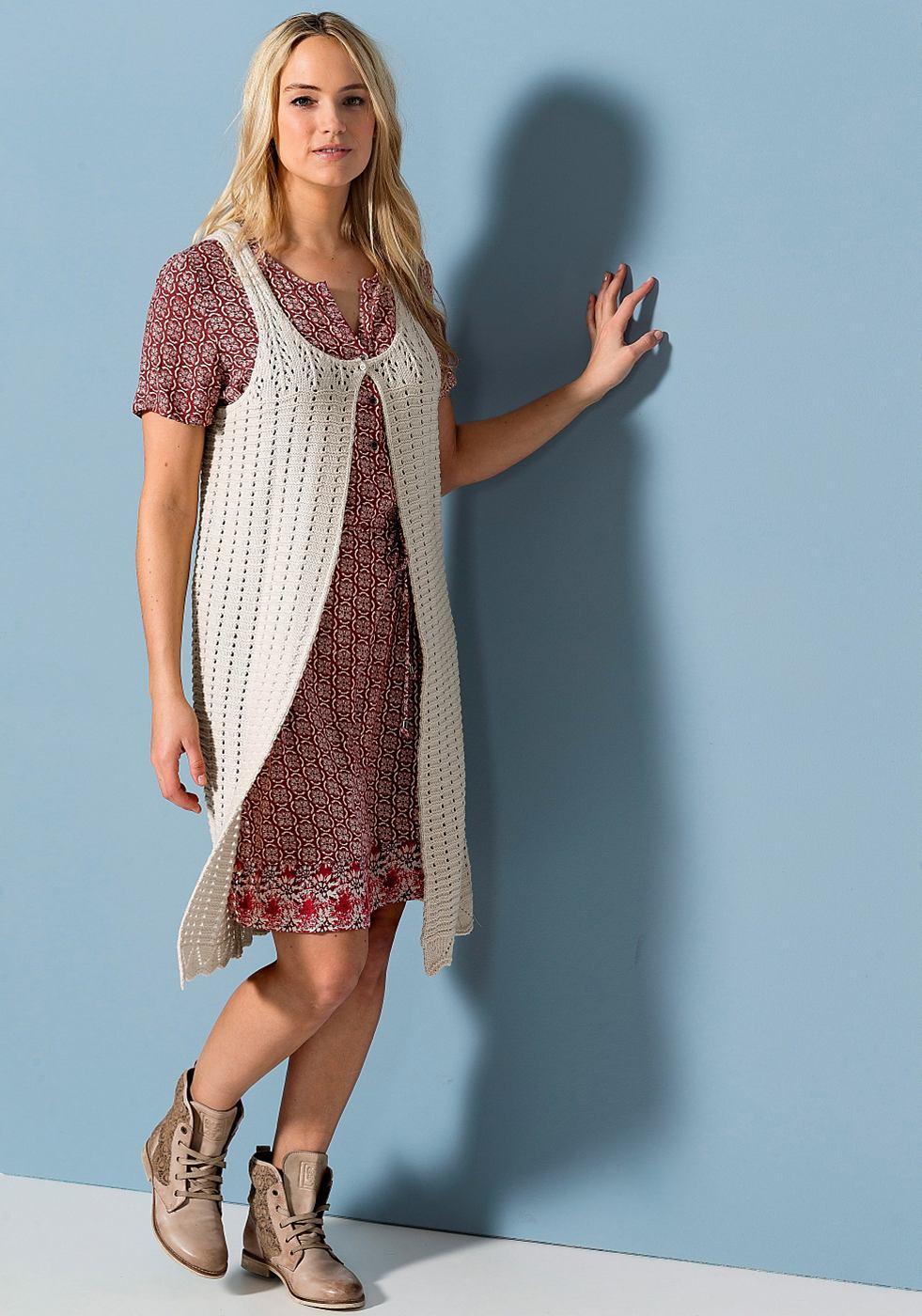 Sheego Casual soepelvallende viscose-jurk met randdessin paars