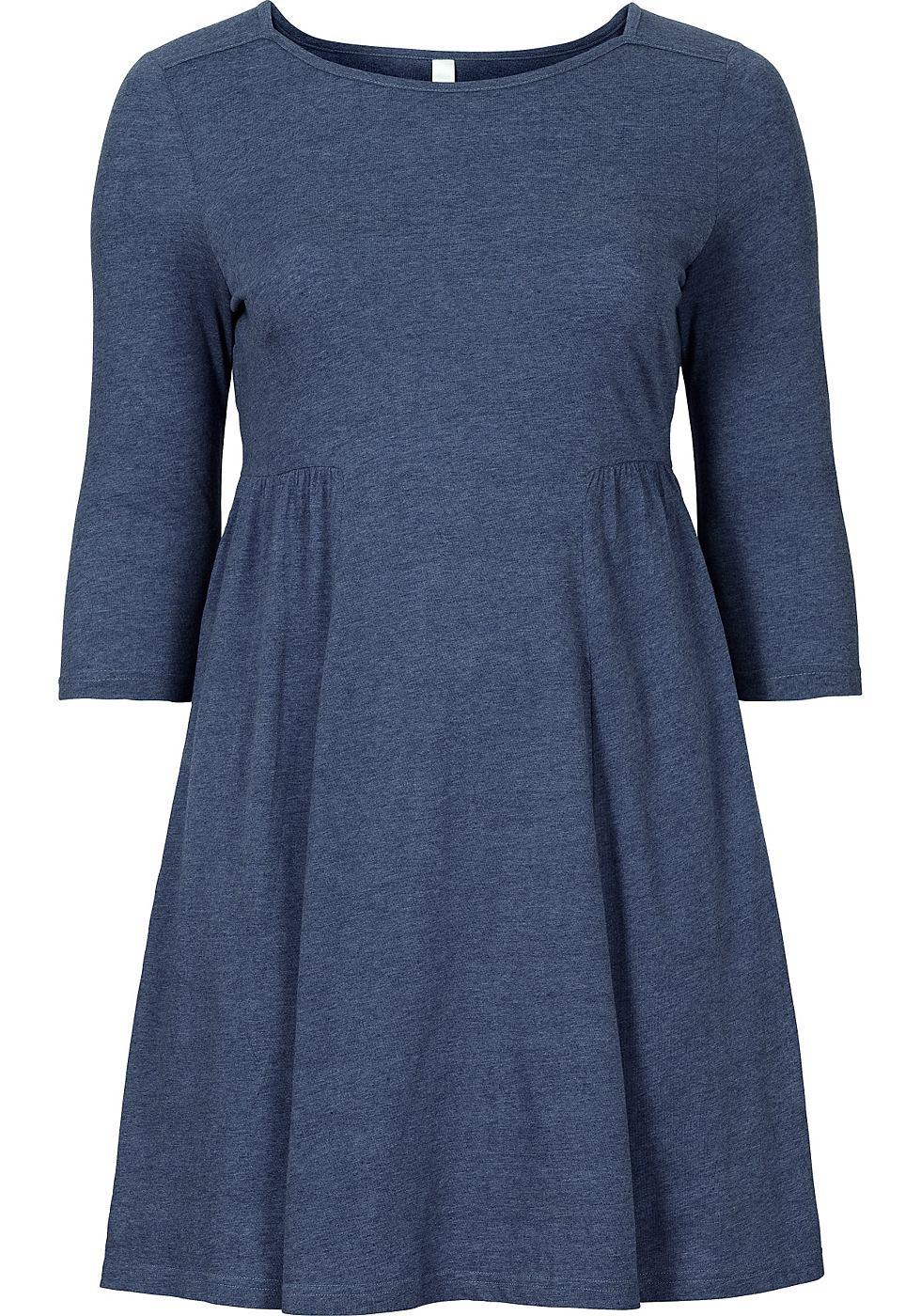 Sheego Casual jerseyjurk met driekwartmouwen blauw