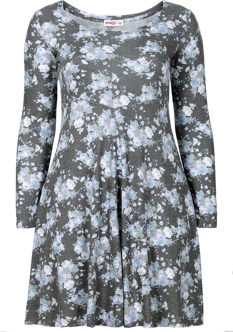 Sheego Style jurk met allover-print grijs